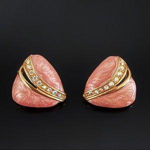 ✨Beautiful Simmer Pink Rhinestones VTG Earrings